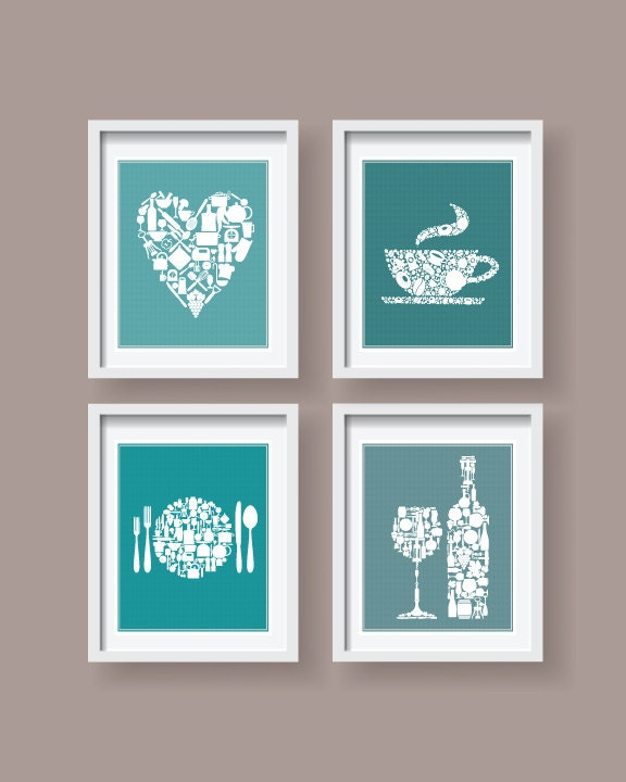 Lovely Teal Kitchen Icons Decor Teal Kitchen Wall Art