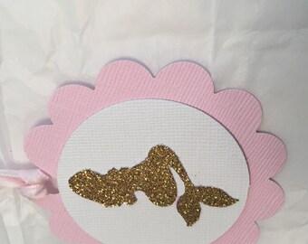 Vintage mermaid tags, silhouette image, mermaid tags, silhouette mermaid image, glitter mermaid tags, gold tags