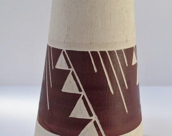 Signed Native American Brown and Off-White Vase with Geometric Design