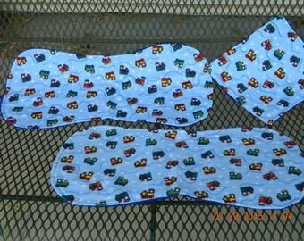 Trains, trains flannel contoured burp cloth/wash cloth set of 3