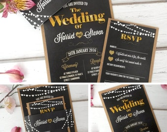 Personalised Blackboard and lights Vintage Wedding Invitations With RSVP Card & Brown Kraft Envelopes