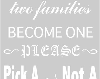 Wedding Signs Wedding Stencil - Pick A Seat Not A Side in Reuasble Mylar