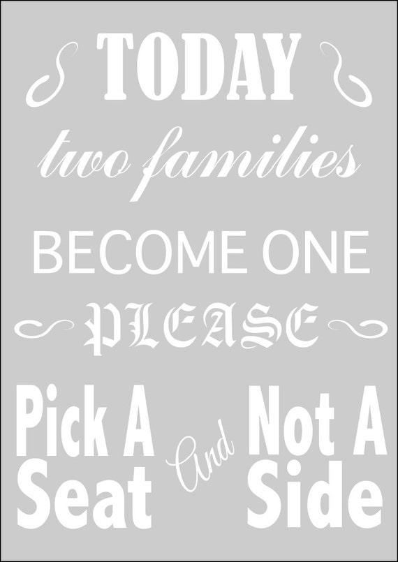 Wedding Signs Wedding Stencil Pick A Seat Not A Side In