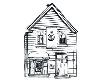 Historic Shands Emporium Christchurch Note Card, old wooden house greeting card, New Zealand art print of original ink drawing