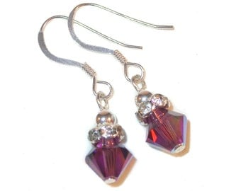 AMETHYST Purple Crystal FEBRUARY Birthstone Earrings 8m Sterling Silver Swarovski Elements Clip-on & Pierced