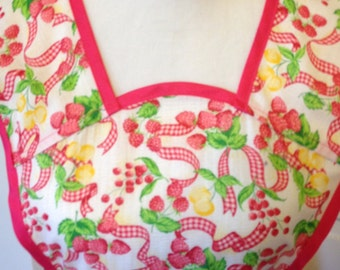 Pink and Yellow Fruit Print Old-Fashioned Apron