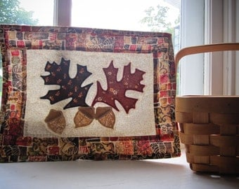 Oak Leaves and Acorns Quilted Wall Hanging