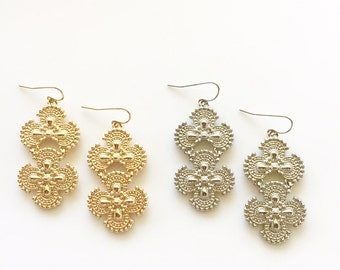Sample Sale!!! Pretty Metal Bead Inspired Clover Textured Earrings in Gold or Silver