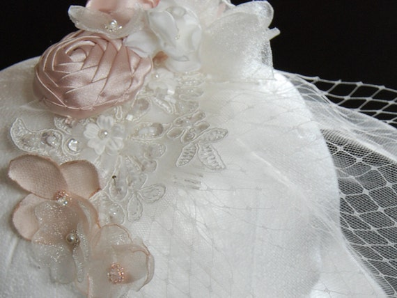 Small ivory and blush birdcage veil;bridal birdcage veil;wedding birdcage veil