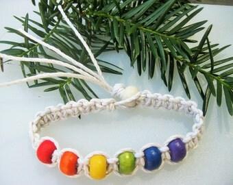 White Hemp Beaded Anklet/Bracelet - Rainbow Colors - Chakra - Hemp Jewelry
