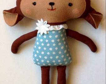 Monkey Softie Toy Plushie Girl Handmade