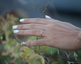 14K Solid Gold Triangle Ring
