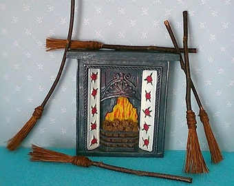 hand made 12th scale, dolls, dolls house witches halloween brooms