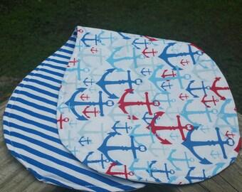 Nautical Anchors, Blue stripe Burp Cloth