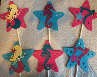 12 mermaid seahorse cupcake toppers