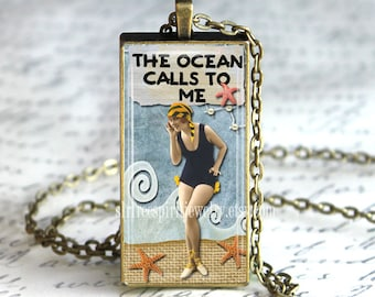 Beach Theme Jewelry, Quote Necklace, 1x2 Pendant, Vintage Photo Jewelry, The Ocean Calls Me, Summer jewelry, Sea shells, Fun Accessory, Blue