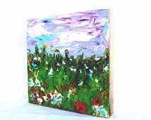 """Summer flower field. Original oil painting on wood 6""""x6"""". Blue white green purple red yellow.  Wall table shelf decor. Under 50"""