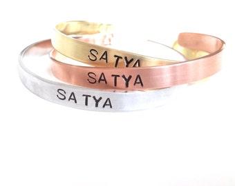 Satya Yoga Cuff. Hand Stamped Aluminum or Brass Cuff. Personalized Yoga Jewelry.