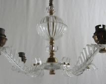 1950's French chandelier. 4 stem lucite chandelier. 4 arm chandelier. Ceiling light, . French vintage lighting