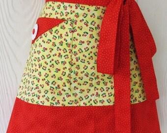 Cherry Half Apron, Yellow Apron, Vintage Style Waist Apron, Retro Apron, Polka Dot, KitschNStyle