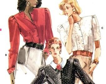 Vogue 7099 Elegant Demure Blouse with Button Front 1987 / SZ14 UNCUT