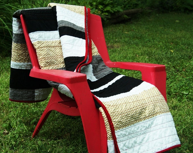 Handmade Throw Quilt in Black White Gold and Red - Great Home Decor Gift Idea