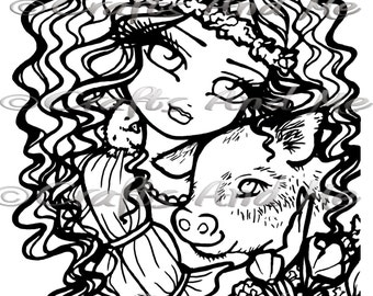 Digital Stamp - Instant Download - Mandy and Pepper - Fantasy Line Art for Cards & Crafts by Exclusive Artist Hannah Lynn for Crafts and Me