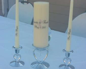 Personalized Unity candle set with intial / Custom unity candle set with names and date/ personalized unity wedding candle