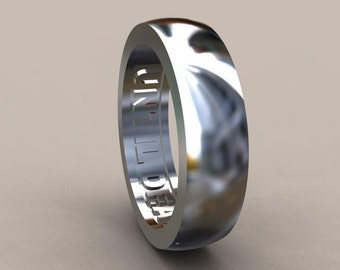 Silver 6mm Mens Wedding Band, Sterling Silver Wedding Ring with Until Death Hidden Message, Simple Style Mens Wedding Ring in Solid Silver