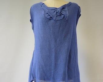 Sale, new price 50 EUR, original price 72 EUR. Feminine blue linen tunic, M size. Handmade, only one sample.