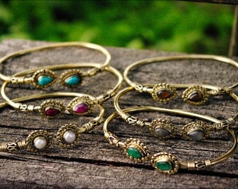 Adjustable color bronze bracelets. Tribal jewelry. Bangles.