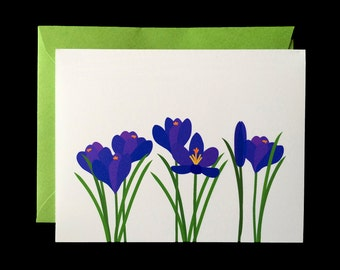 Purple Crocus - Greeting Card w/ Green Envelope
