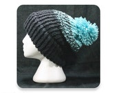 Clearance, Knit Hat, Black and Sage Green Knit Winter Hat with Pompom, Men's Knit Hat, Women's Knit Hat, Mens Hat, Womens Hat, (KH4)