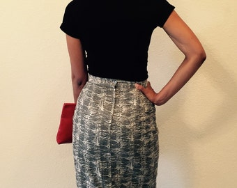 1980's Vintage ESPIRIT Skirt in Size 7/8 Made In Italy in 100% Cotton ESPIRIT Retro Long Skirt