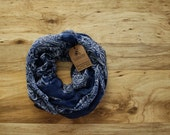 Classic Elegant Moroccan Scarf Blue and Cream Infinity Scarf, Soft, Lightweight, Year Round Scarf, Fall Scarf Winter Scarf