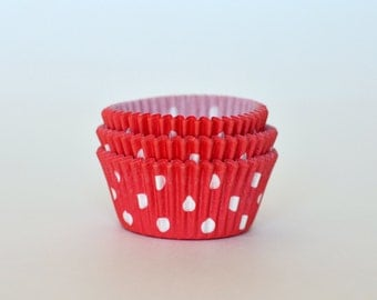 Red Polka Dot Cupcake Liners // Red Baking Cups (Qty 50)