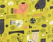 1 yd Tiki Tok Fabric, Birds in Mustard.  Mid Century Modern Fabric for Moda by Jenn Ski.