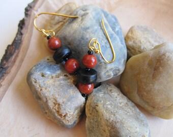 Red Jasper and Black Onyx Earrings