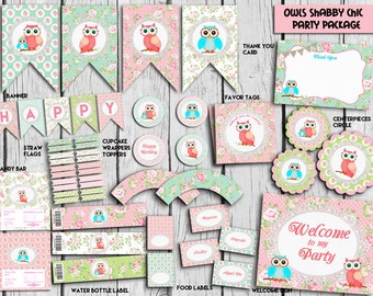 Owls Shabby Chic Party Package,Shabby Party Set,Owls Party Supplies,Banner,sign,Shabby chic package,PRINTABLE DIY, Instant Download