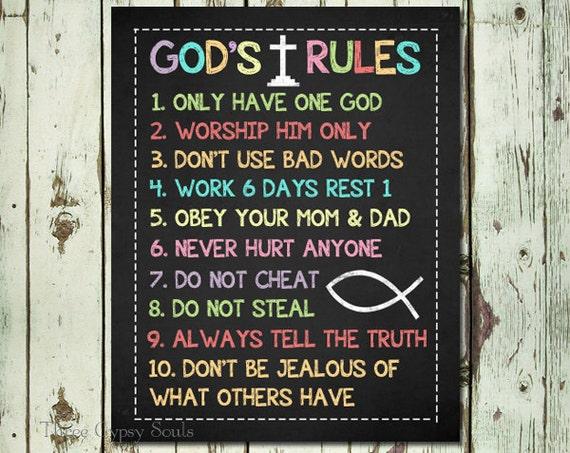 PRINTABLE ART Ten Commandments Christian Wall Art 10 Commandments ...