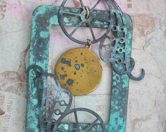 All Geared Up Steampunk Patina Necklace