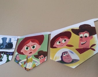 Toy Story banner upcycled book