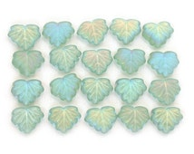 SALE 20 Soft green transparent matte w/ AB finish 13 x 11mm maple leaves. Set of 20 beads.