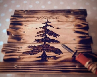 Pine tree wooden wall art, wood burned pyrography forest wildnerness