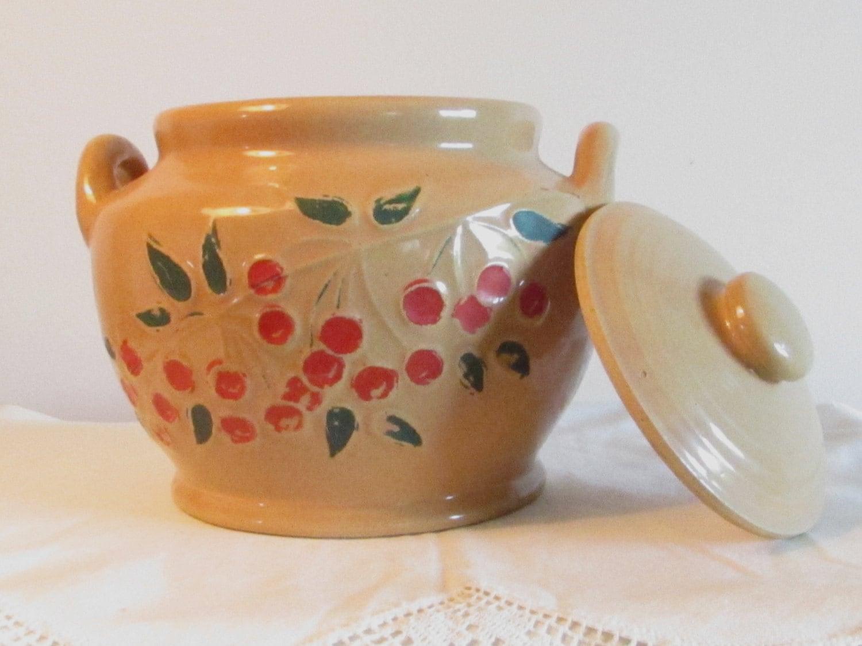 1930s Pottery Cookie Jar Mccoy Or Red Wing Vintage Bean