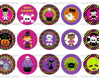 "Halloween Bottle Cap Images ~ Ghosts ~ Pumpkin ~ Instant Download ~ 1"" Circle ~ Hairbow Centers ~ Printable Image Sheet HL-268"