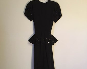 Vintage Black Party Dress with Sequin Peplum