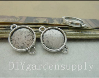 lead and nickel free---50pcs inner 12mm antiqued silver both sided round bezel trays blanks--2 loop