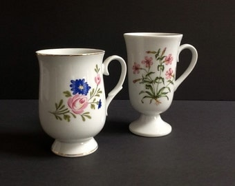 Floral Mugs, Pedestal Mugs, Made in Japan, Mis-Matched Tea Cups, Tall Tea Cups