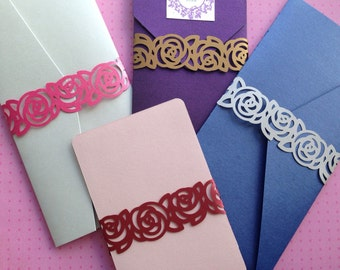 Rose border metallic paper belly bands / paper wraps / paper bands (Pk of 10)